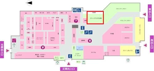 イオン高岡店での体操の実施場所(赤枠のカ所)(資料:イオンリテール)
