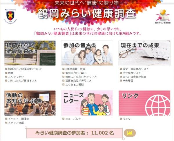 鶴岡みらい健康調査のホームページ(出所:鶴岡みらい健康調査)