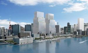 東京港から見た「(仮称)芝浦一丁目計画」のイメージ。東芝が本社を置く浜松町ビルディングを建て替え、オフィス、ホテル、住宅、商業施設などで構成する高さ約235mのツインタワーを建設。2029年度完成を目指す(資料:野村不動産、NREG東芝不動産、東日本旅客鉄道)