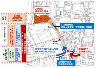 社会実験の実施場所と実施時の交通規制・荷捌きのルール(資料:大阪市)
