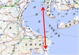 実証実験の飛行ルート(資料:三重県、地図は国土交通省国土地理院)