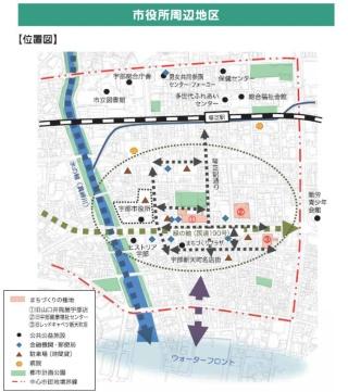 調査対象地域は市役所に隣接(資料:宇部市)