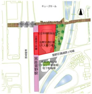 箕面萱野駅周辺の整備配置図(資料:箕面市)