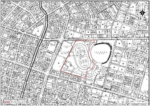事業用地の位置図(赤破線の範囲)(資料:一宮市)