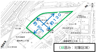 現市民会館の対象区域(資料:和歌山市)