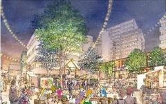 左は北谷公園完成イメージ。右はオープン後の賑わい創出イメージ(資料:東急)