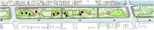 対象地である13街区の施設配置予定位置(資料:鹿児島県造園事業協同組合)