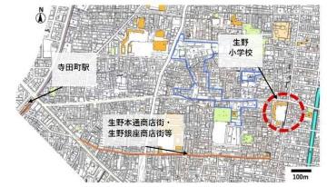 生野小学校の位置(資料:大阪市生野区)