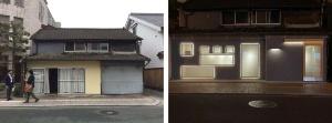 改修前(左)と改修中の町屋(資料:熊本市)