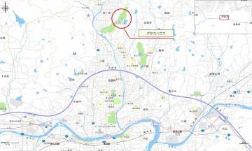 グラスハウスの位置(資料:津山市)