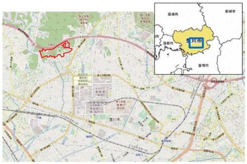 赤塚山公園の位置図(資料:豊川市)