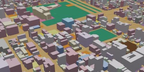 都市計画基礎調査の「建物利用現況」に基づいて、名古屋市内の建物を色分けした3D都市モデル(出所:Project PLATEAU)