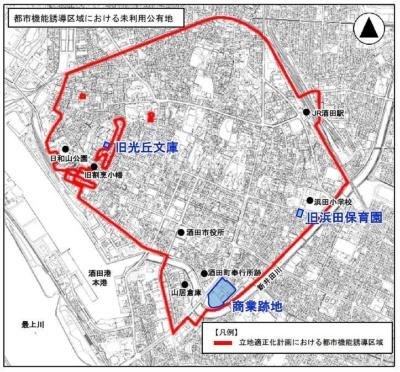 酒田商業高校跡地の位置(資料:酒田市)