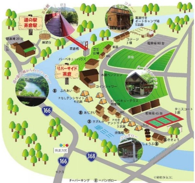 松阪市リバーサイド茶倉、道の駅茶倉駅の全体概要図。香肌峡県立自然公園内の櫛田川沿いにあり、いずれも設置から20~30年が経過して施設の老朽化が進んでいる(資料:松阪市)