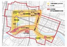 「乙川リバーフロント地区公民連携まちづくり基本計画―QURUWA戦略―」のエリア(資料:岡崎市)