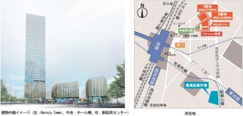 中池袋公園側から見た建物の外観イメージと位置図(資料:東京建物)
