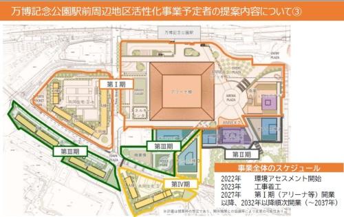 採択された活性化事業提案の平面図(資料:大阪府)