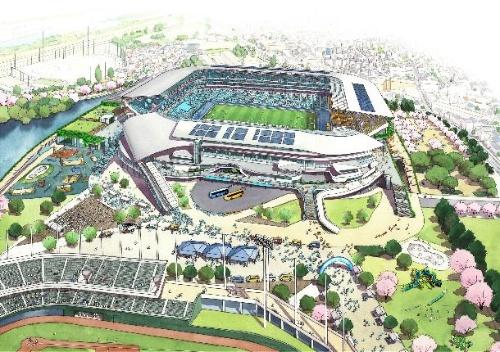 等々力球場側から見た球技専用スタジアム方向の俯瞰イメージ(資料:川崎市)