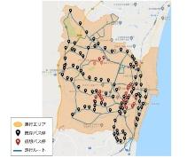 ダイナミックルーティングバス「MyRide のるる」の運行エリアと第一段階での仮想バス停の位置(出所:高萩市)