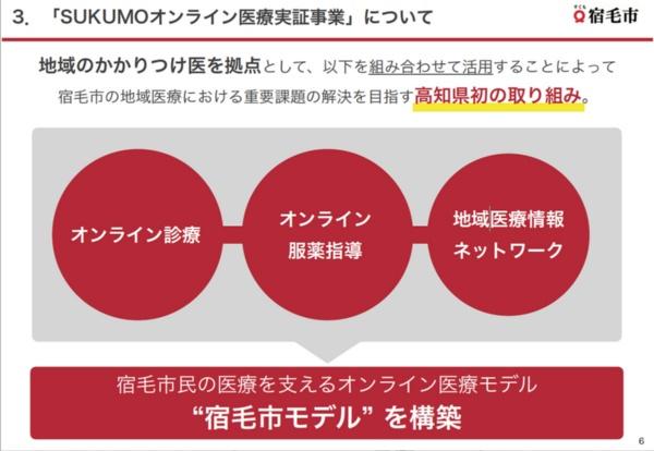 "SUKUMOオンライン医療実証事業の概要。市では""宿毛市モデル""の構築を目指す(出所:発表会のスクリーンショット)"