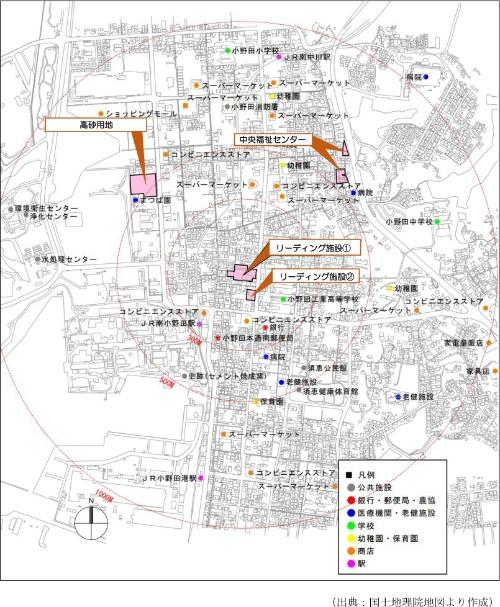 事業予定地と周辺図(資料:山陽小野田市)
