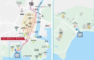 周辺地図(左が広域、右が狭域)。アクセスは伊豆急下田駅からタクシーで6分、徒歩20分程度(資料:下田市、三菱地所)