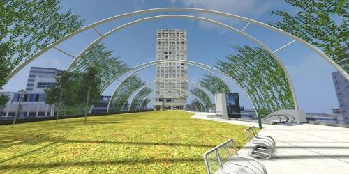 宮下公園パラレルサイトの入り口(出所:大日本印刷、渋谷未来デザイン、宮下公園パートナーズ)