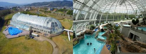グラスハウスの外観と内観(写真:津山市)