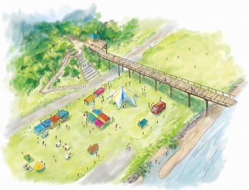 水辺イベントのイメージ。蓬莱橋は昔ながらの風情を残す橋で、時代劇などのロケ地としても知られる(資料:島田市)