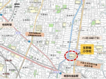 生野南小学校の位置(資料:大阪市生野区)