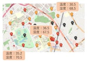 28カ所のセンサーによって柏の葉エリアの温度・湿度を可視化する(出所:三井不動産)