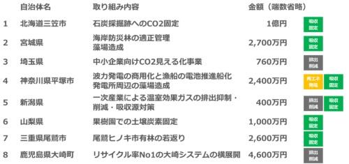 選定8自治体と事業内容(資料:ヤフー)