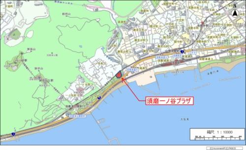 「須磨一ノ谷プラザ」の位置況(神戸市の資料を一部加工)
