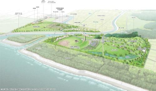 2025年段階における整備イメージ:公園全体鳥瞰図(出典:福島県復興祈念公園基本設計業務委託)