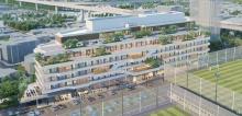 外観イメージ。建築面積:4391m2、延べ面積: 2万3098m2、地上7階・高さ30mの施設となる予定(資料:ソフトバンク)
