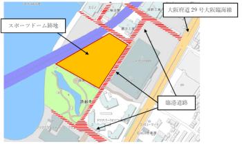 スポーツドーム跡地の位置図(出所:岸和田市)