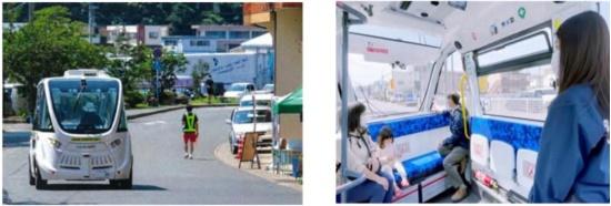実験車両「NAVYA ARMA」(左)とその車内(右)(出所:岐阜市)