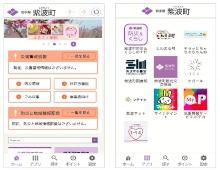 「しわなび」のホーム画面は紫波町のホームページ(左)。ホーム画面下のアプリボタンを選択すると、防災情報などのアプリを一覧表示する画面に移動する(右)(出所:エルテス)