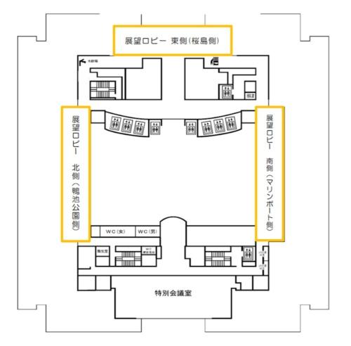 県庁18階展望ロビーのレイアウト(資料:鹿児島県)