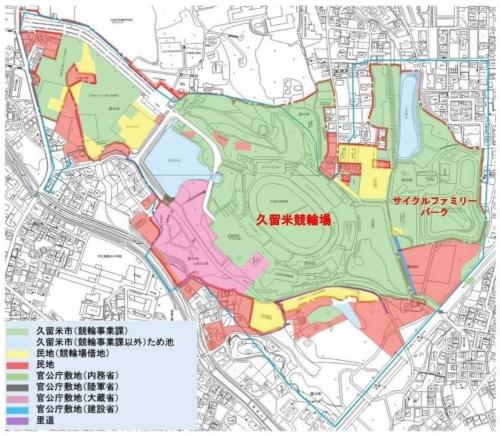 久留米競輪場周辺の配置図。青線の内側が正源氏公園のエリア(資料:久留米市)