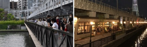 左は隅田川を渡した歩道橋「すみだリバーウォーク」。浅草寺~北十間エリア~東京スカイツリータウンの観光動線を大きく改善した。右は北十間川沿いの鉄道高架下に整備された商業施設「東京ミズマチ」。いずれも東武鉄道が整備した(資料提供:国土交通省)