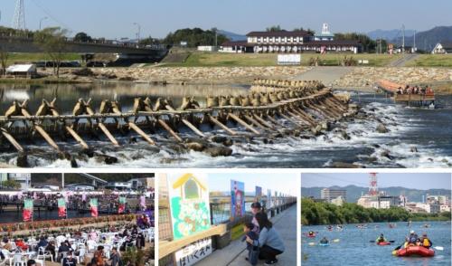 五ヶ瀬川水系の伝統漁法「鮎やな」の簗(やな、写真上)などの観光資源を生かした(資料提供:国土交通省)