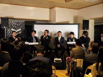 左から、コワーキングスペース秘密基地代表・岡秀樹氏、本高氏、リョーワR-Vision事業部 事業部長・津田貴史氏、Houyou代表取締役社長・福岡広大氏、カラビナテクノロジー執行役員・森正和氏、CAVIN代表取締役社長/CEO・Yuya Roy Komatsu氏