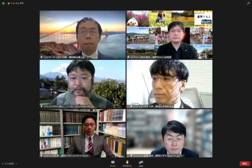 パネルディスカッションの参加者。上段は浅井氏(左)と長田氏(右)、中段は市川氏(左)と狩野氏(右)、下段は朱氏(左)と堂囿氏(右)(シンポジウムのオンライン画面より)