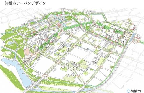 「前橋市アーバンデザインモデルプロジェクト」によるまちのイメージ(前橋市の当日発表資料「モデル事業担当者のSIBスキーム導入に対する考え」より)