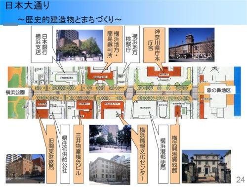 日本大通りは、スコットランド出身の土木技術者であるリチャード・ブラントンが設計した日本初の西洋式道路。広幅員で、沿道には重要な公共施設を集積した(梶山室長の講演資料より)