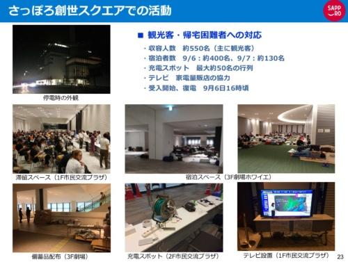 北海道胆振東部地震で観光客を受け入れた札幌市都心部のさっぽろ創生スクエアの様子(資料:札幌市)