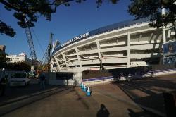 増築・改修工事中の横浜スタジアム(撮影日:2018年11月15日写真:日経BP)