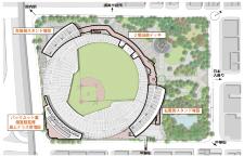 <左>完成後のスタジアムのイメージ。<右>増築・改修箇所と平面図(資料:横浜DeNAベイスターズ・2点とも)