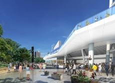 2階回遊デッキ(Yデッキ)の外観イメージ。スタジアムが建つ横浜公園や、横浜中華街へのアクセスも向上する(資料:横浜DeNAベイスターズ)